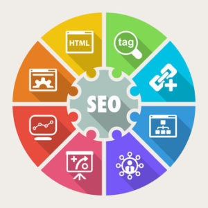 Colourful wheel showing Search engine optimisation